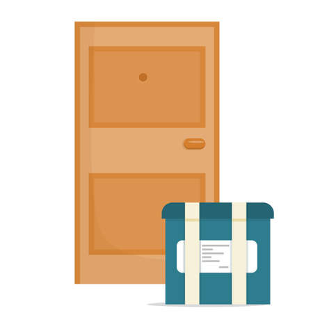 Cartoon style food delivery box near the front door is isolated on a white background. Delivery of snacks or lunch in a package with a list of ordered goods. Vector illustration..