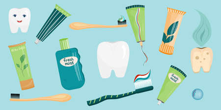 A set of teeth and accessories for cleaning the oral cavity in a cartoon style. Toothpastes and toothbrushes, healthy and sick tooth. Vector illustration for the care of the oral cavity..