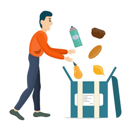 Courier, online food delivery, collects the order in a box, isolated on a white background. Delivery of food, fruit and milk. Vector illustration of an online order..