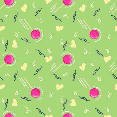Seamless pattern for Valentines Day with lollipops, delicious candy in the form of cartoon hearts. Vector illustration for greeting cards and greetings for February 14-Valentines Day.