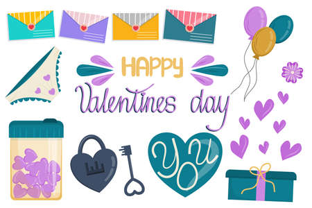 Vector set of elements for February 14 - Valentines Day isolated on a white background in cartoon style. Lettering, hearts, postal envelopes for the design of postcards and valentines. 向量圖像