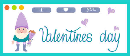 Vector banner for February 14-Valentines Day isolated on white background in cartoon style. Lettering, hearts, a gnome with a bouquet of flowers for website design.