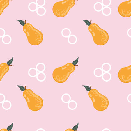Seamless geometric pattern with orange pear and white circles on a pink background. Vector illustration.