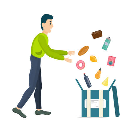 Courier, an online food delivery service, collects the order in a box isolated on a white background. Delivery of food, fruit and milk, porridge and desserts. Vector illustration of online ordering.