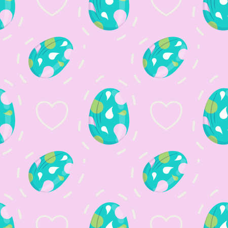 Seamless pattern with Easter eggs and hearts with dotted lines in cartoon style. Vector illustration for spring and the religious holiday of Easter.