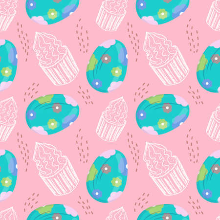 Seamless pattern with Easter eggs and cupcakes in cartoon style. Vector illustration for spring and the religious holiday of Easter.