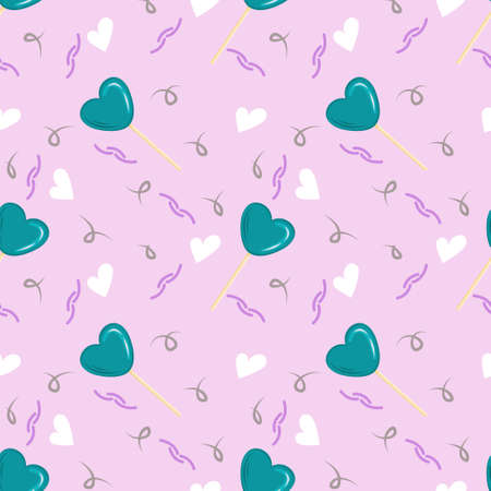 Seamless pattern for Valentines Day with lollipops, delicious candies and squiggles in the form of cartoon hearts. Vector illustration for Valentines Day greeting cards.