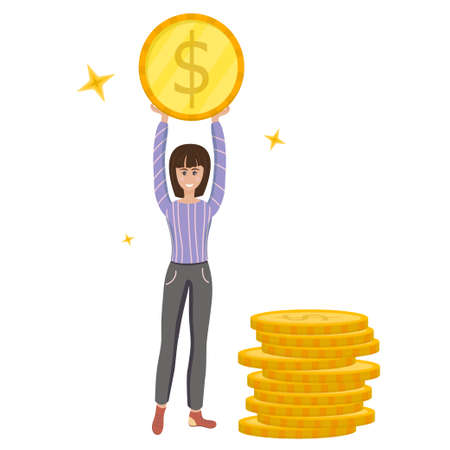 A girl holds a coin, next to a stack of dollars in cartoon style isolated on a white background. Vector illustration, the concept of wealth and saving money.