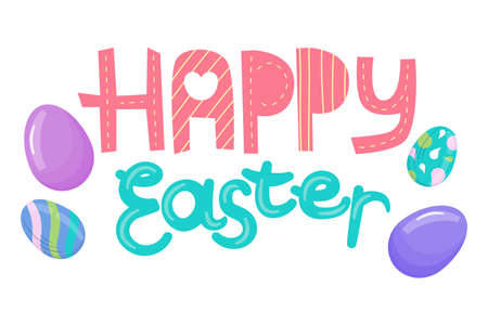 Happy Easter lettering with cartoon style eggs isolated on white background. For Easter greetings and postcards, beautiful and bright letters.