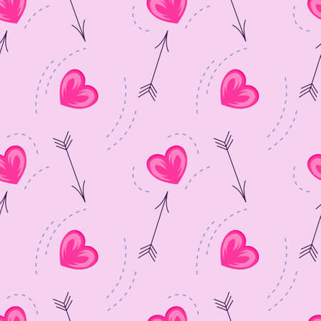 Seamless pattern for Valentines Day with hearts and arrows Vector illustration for greeting cards and greetings for February 14-Valentines Day. 向量圖像
