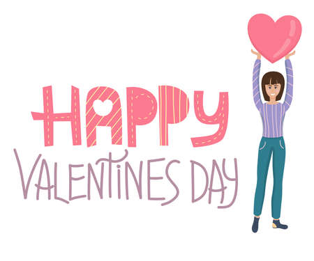 Banner for Valentines Day in cartoon style on a white background. A young girl holds a heart above her, next to a handwritten text of happy Valentines Day.