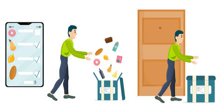 The concept of online grocery delivery, in a cartoon style. Smartphone with a selection of products, the courier collects and delivers food in a box. Contactless delivery to the door. 向量圖像