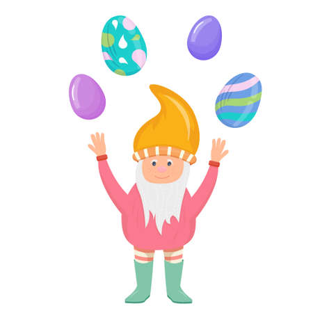 Gnome with Easter eggs in cartoon style isolated on a white background. Spring festival with colorful eggs and patterns. A gnome with a beard and a hat.
