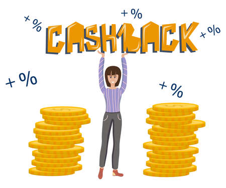 The concept of cashback. The girl holds the word cashback, near her stacks of coins and interest in a cartoon style on a white background. Refund of dollars for purchases.