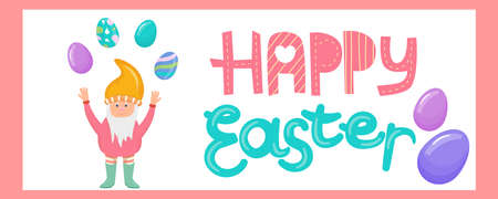 Banner for a website with a gnome and Easter eggs in a cartoon style. Vector illustration for the Easter holiday, with colorful eggs and beautiful lettering.
