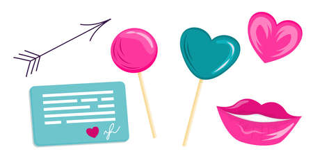 A set of items for Valentines Day in a cartoon style. Lollipops, lips and hearts for Valentines. Clipart on a white background for congratulations and confessions.