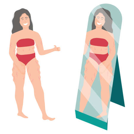 Happy chubby girl looking in the mirror, flat body style positive, isolated on white background. Plus size in a swimsuit or underwear. Vector illustration of overweight and self acceptance.