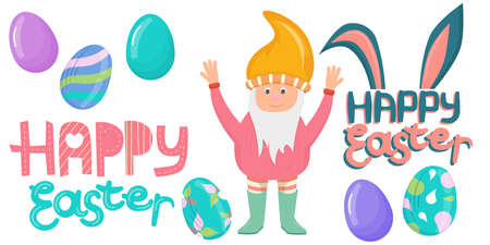 Easter set of elements, colorful eggs, a dwarf and inscriptions are isolated on a white background. Happy Easter lettering. Vector illustration in a flat cartoon style.