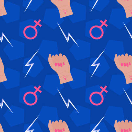 Seamless pattern, feminism, and the fight for equality. A female fist with a female symbol and a lightning bolt sign. Vector illustration. Girl power