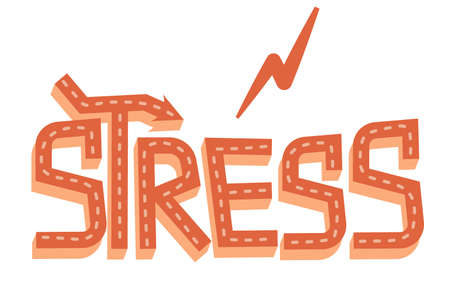 The word stress in cartoon style is isolated on a white background. Vector illustration of lettering with a zipper, three-dimensional decorated letters for illustrations of stress and tired people Vectores