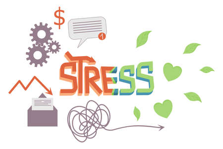 The word stress in cartoon style is isolated on a white background. The concept of transition from stress to calm. Vector illustration of the inscription three-dimensional decorated letters Vectores