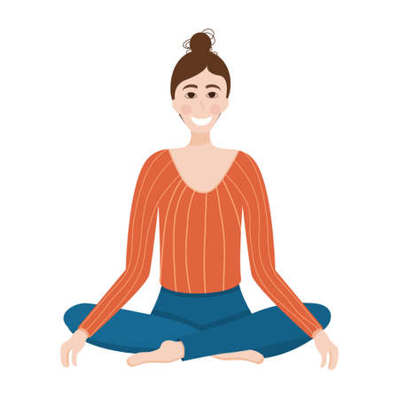 The girl in the lotus position. The concept of calming and meditation, getting rid of stress. A woman sits on her feet, calming down after a working day. Vector illustration