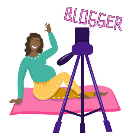 A happy, pregnant blogger girl smiles at the camera. Keeps a blog about pregnancy. The woman is black, of different ethnic groups. Vector illustration