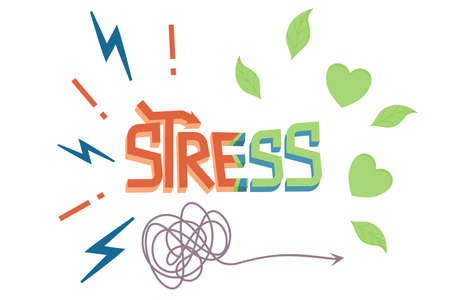 Word stress in cartoon style isolated white background. The concept of moving from stress to calm. Vector illustration of an inscription with three dimensional decorated letters, zippers and leaves