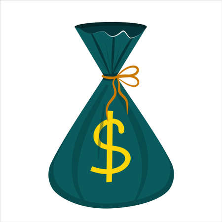 A green money bag with a cartoon-style dollar sign is isolated on a white background. Vector illustration.