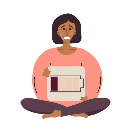 Tired woman is sitting in a lotus position with a sign in her hands, a dead battery. Fatigued female is in emotional burnout or mental disorder. Vector illustration is isolated on a white background