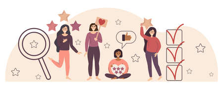 Flat illustration with quality rating. Establish the concept of evaluating the work and receiving feedback. Different girls with stars and hearts. Vector illustration in a flat linear style.
