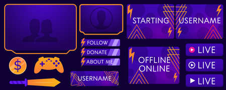 Overlay the game on a dark background. Modern Vector banner design. Template design. Buttons, frames for streaming and donating. Overlay game communicating with subscribers.