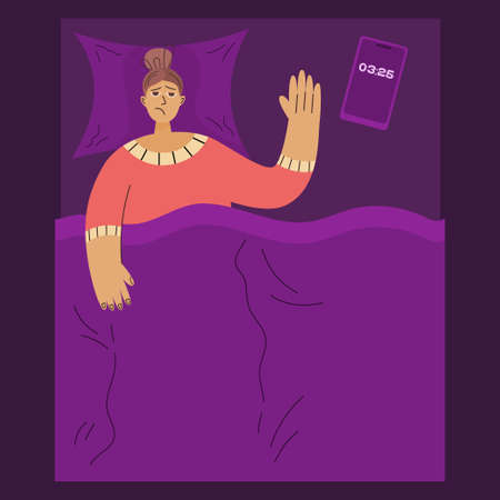 Concept insomnia. At night, in bed, tired person can not sleep, next to the phone, tablets with water. Vector illustration flat linear style. Insomnia and health, hyper-exaggeration person.