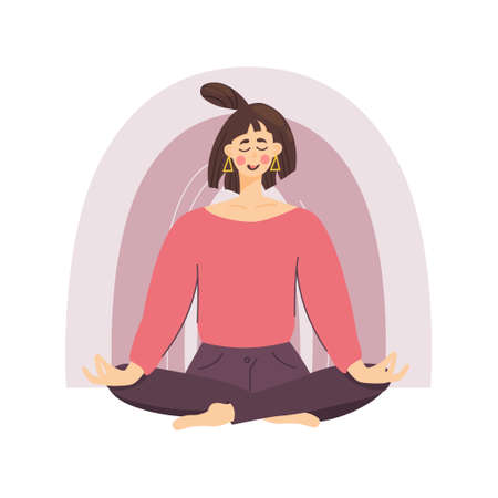 The concept of a meditating girl against a rainbow background, A woman relaxes and calms down in the lotus position. Good health and well-being during meditation. Vector illustration in a flat style. Vetores