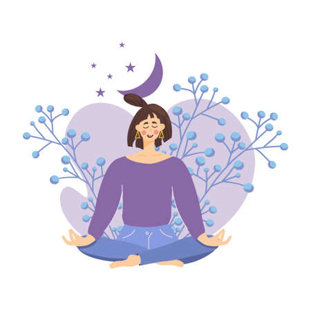 Concept of meditating girl against background flowers, moon, woman relaxes and calms down in the lotus position. Wellness, good health and well-being during meditation. Vector illustration flat style. Vetores