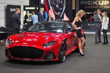 Sexy model with Aston Martin, Warsaw Motor Show, 2018