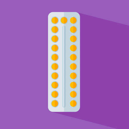 long recovery: Blister pack of pills . Icons of flat tablets. Symbol pharmacy. Vector illustration icon isolated on white background. Medicine