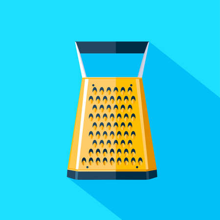 flat icon kitchen grater on a blue background with long shadow Illustration