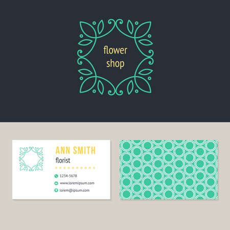 Abstract flower logo design with template business card for florist. Visual identity for flower shop Illustration