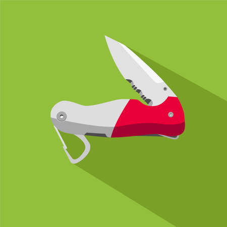 flat icon of functional knife in the unfolded state with long shadow