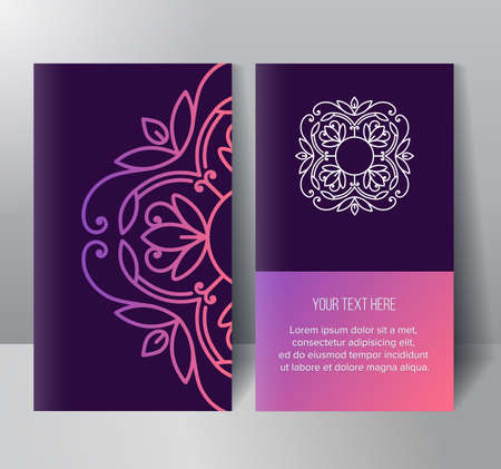 Template two trendy cards with abstract gradient pattern and flower monogram. Visual identity for flower shop. 2D Mockup Vector Illustration