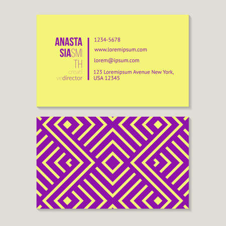 Trendy business card template for creative director, geometric pattern vector design editable. Illustration