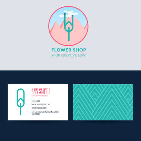 Trendy flower logo design with template business card for creative director. Abstract tulip surrounded by a cloud against the background of mountains. Visual identity for flower shop Illustration