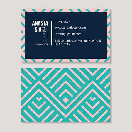 rhythmical: Trendy geometric business card template for creative director, abstract pattern vector design editable.