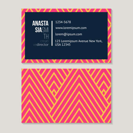 rhythmical: Trendy business card template for creative director, geometric pattern vector design editable. Illustration