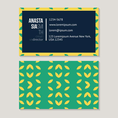 rhythmical: Trendy foliar business card template for creative director, abstract pattern vector design editable.