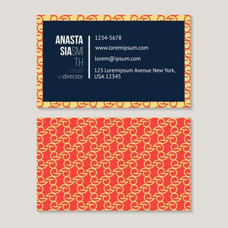 rhythmical: Trendy vintage business card template for creative director, abstract pattern vector design editable.