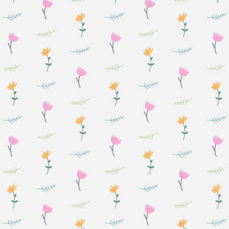 leafed: Trendy background with field flowers in flat design. Illustration