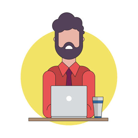 Colorful illustration of business man working on the notebook.