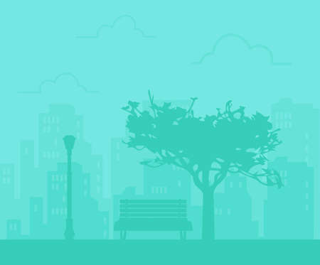 Silhouette city park in the background of houses. Vector illustration Çizim